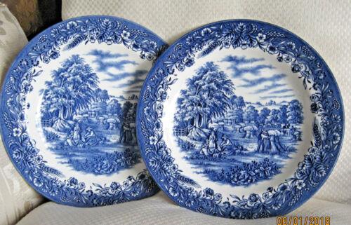 Currier & Ives Churchill Harvest Flower & Wheat 4 Dinner Plate Blue Transferware