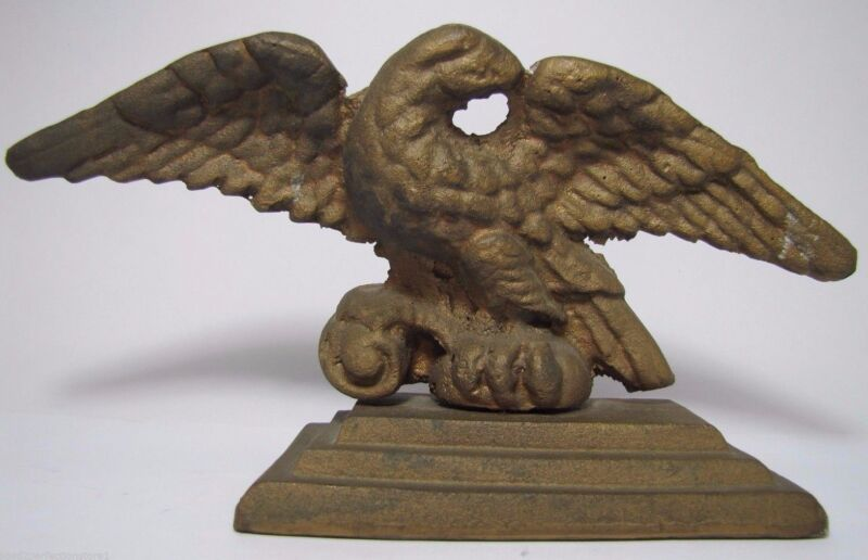 Antique Cast Brass EAGLE Doorstop Spread Winged Bevel Base Decorative Art Statue