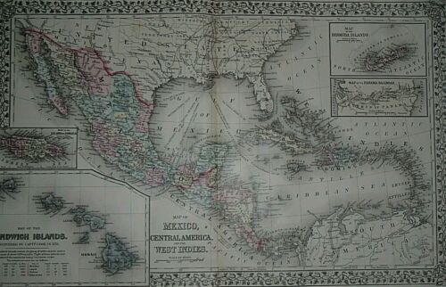 Rare Vintage 1878 Map ~ MEXICO - CARIBBEAN - CENTRAL AMERICA ~ Old & Authentic