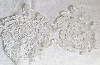 Vintage Lace Appliqués. Antique White Bobbin Tape Laces, 2pc Vintage Wedding NOS