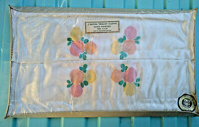 Vintage New Pair Hand Painted Rayon Trolley Cloths in Box Made Northern Ireland
