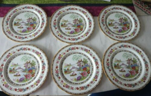 6 Royal Paragon Manchu Fine Bone China England Porcelain Dinner Plates