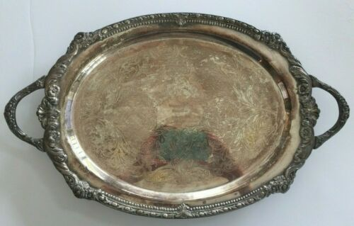 "Vintage Sheridan Silver on Copper Oval Footed Serving Tray Handles 21"" Engraved"