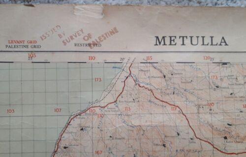 Jewish Judaica/War Office Military Map of Metulla Palestine 1943 / RARE