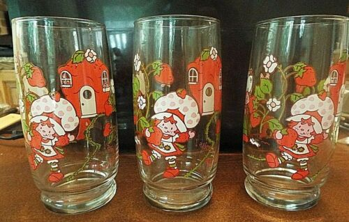 "Set of Three ""It's the berries!"" Vintage Strawberry Shortcake Glasses"