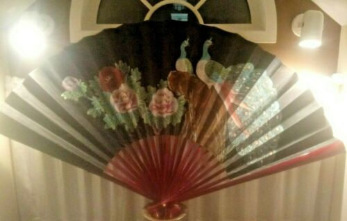 Large Antique Chinese Painted Fan Peacocks Motif