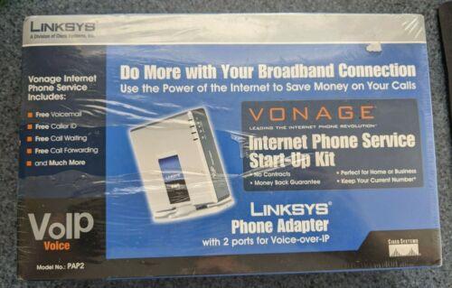 Linksys PAP2 v2.0 Phone Adapter VoIP Vonage Internet Phone Service Start-Up Kit