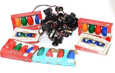 Vintage NOMA Christmas Lights C9 Red Green Cords 25 Light Set w new packs bulbs