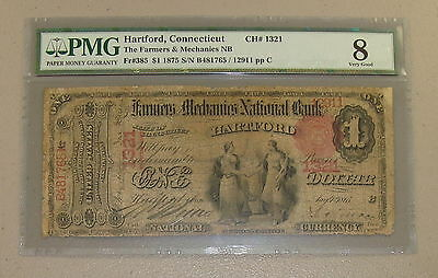 1875  1 One Dollar The Farmers   Mechanics National Bank Note Fr 385