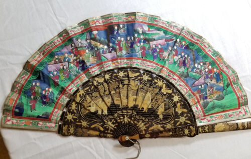 Antiqe Chinese Gilt Lacquered Landscape Fan 100 Faces Box Lacquer Painted As Is