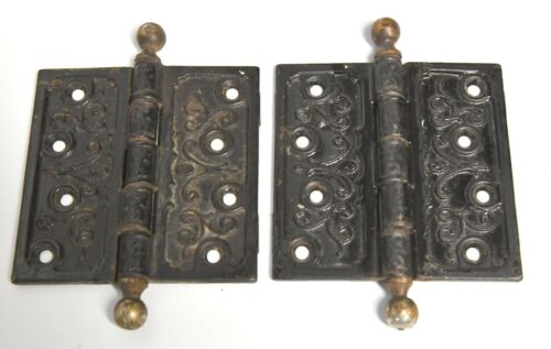 VINTAGE PAIR OF EASTLAKE STYLE DOOR HINGES 4 1/2 X 4 1/2 ARCHITECTURAL SALVAGE 2