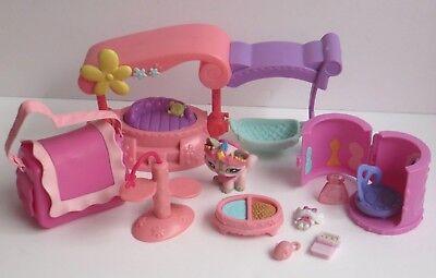 Littlest Pet Shop Pink Princess Cat #1326 Daybed Crown Vanity Carrier lot 14 pcs ()