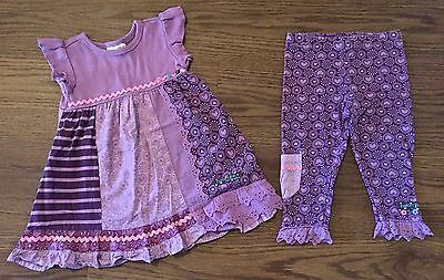 NAARTJIE SIZE 6-12 12-18 MONTH SISI PRINT DRESS CONTRAST POCKET LEGGINGS PURPLE