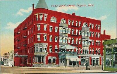 Saginaw Michigan~Hotel Vincent~J.L. Ba? Store Across Street~c1910 (Saginaw Stores)