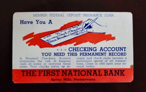 VINTAGE 1958 FIRST NATIONAL BANK of SPRING MILLS, PA WALLET CALENDAR