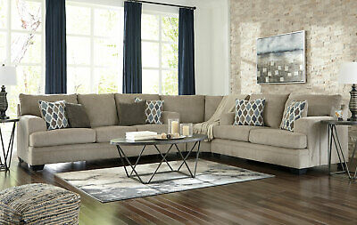 NEW Modern Living Room Large Sectional Beige Chenille Fabric Sofa Couch Set IG21