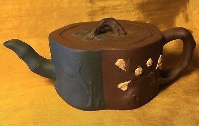 Japanese Yixing Zisha Pottery Clay Teapot w Bonsai Tree Knob Green Panel: Signed