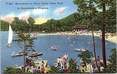 Fairy Stone State Park, Virginia, Lake, Beach, Sailboats - Postcard (A1)