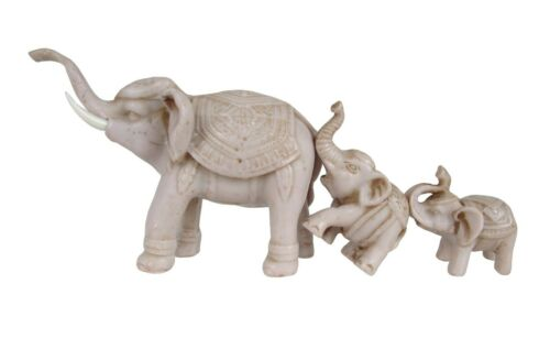 Elephant Figurine Set of 3 Mother and Baby Family Trunk Up Small Resin Sculpture