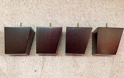 """Tapered Furniture Leg Feet Chair Couch  Sofa  Brown Finish  (4 legs) 5""""  #OS12"""
