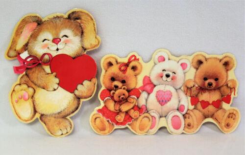 2 Vintage Eureka Die Cut Valentines Day Decoration Bears Hearts Rabbit Laminated