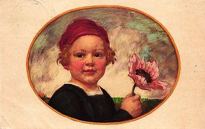 Mädchen mit Blumen, Bayerischer Blumentag 1913, Off. Postkarte (Ganzsache)