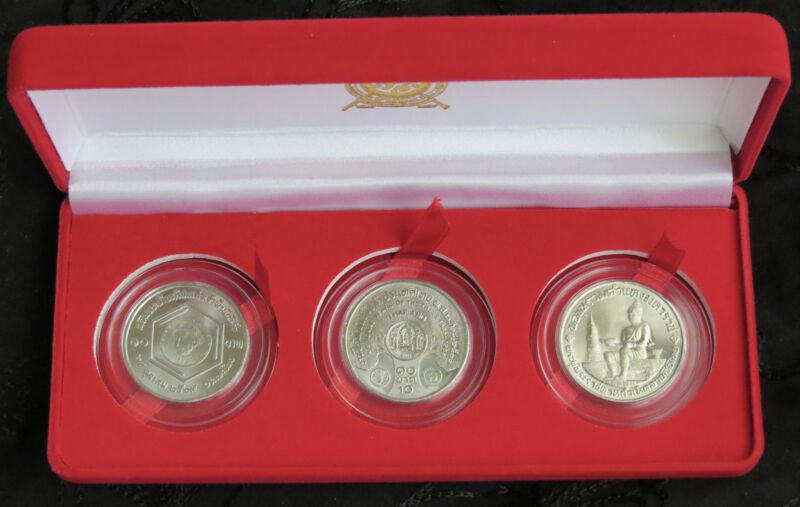 1983 & 1986 Thailand 10 Baht Boxed 3 Coin Set Trees Einstein & Alphabet Rama IX