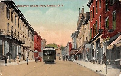 191? Trolley Stores Broadway looking West Rondout NY post card Ulster county
