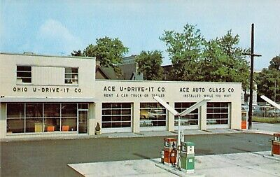 postcard OHIO Gas Station U-DRIVE-IT Auto Glass Store Canton, (Parkway Stores)