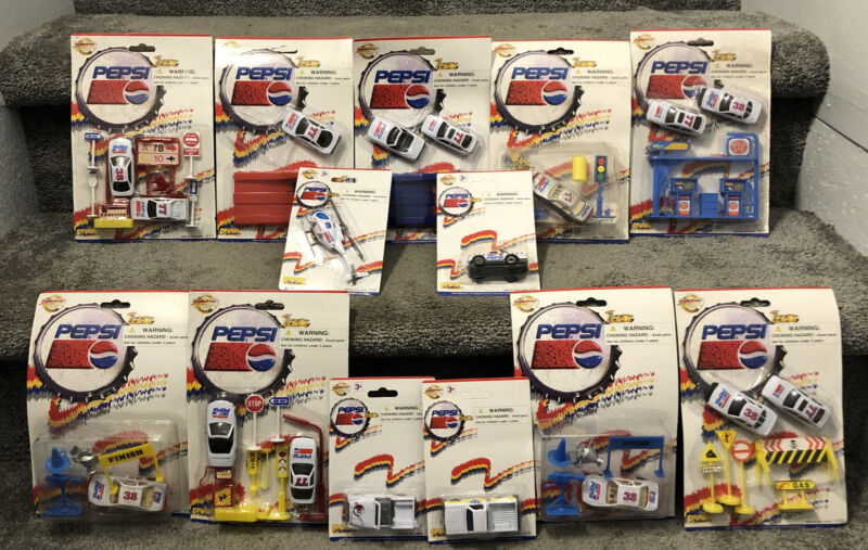 Lot Of 13 Golden Wheel Pepsi Team Die Cast Toy Cars Trucks Ramps Accessories