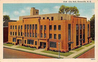 GREENVILLE NORTH CAROLINA CITY HALL~NC NEWS COMPANY PUBL  POSTCARD 1956 PSTMK - Party City News