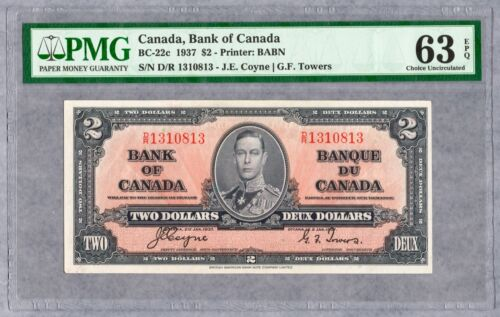 1937 Bank of Canada $2 Banknote, PMG UNC-63 EPQ