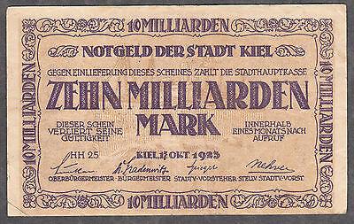 Kiel -Stadt- 10 Milliarden Mark v. 17.10.1923