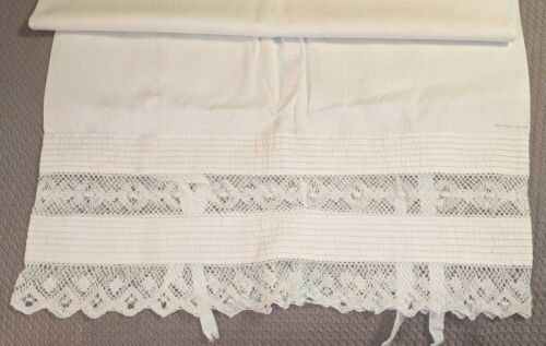 Antique Metis Linen Body Pillow Sham, Cover, w/ Pleats and Lace, Signed