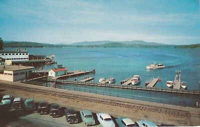 Winnipesaukee from The Weirs New Hampshire 1950's Cars Boats Chrome Postcard