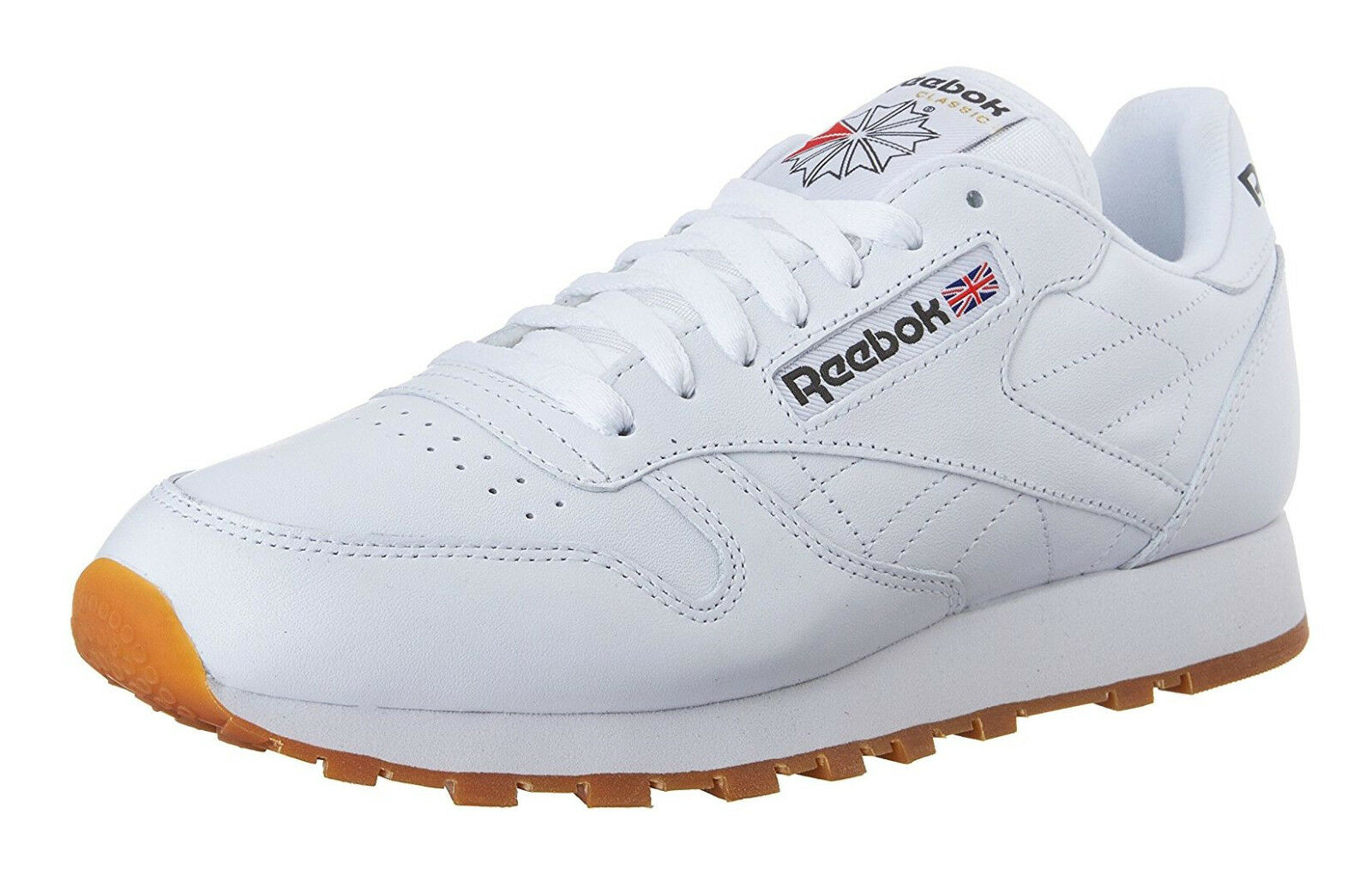 Reebok Classic Leather White, Gum Mens Running Tennis Shoes