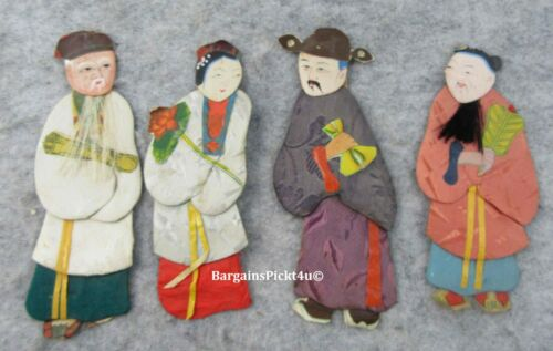 Vintage Handmade Paper Fabric Asian Doll Ornament Chinese Figures Made Hong Kong