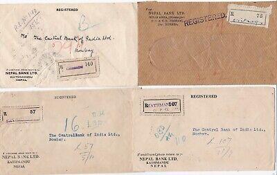 # 1959 x 3 NEPAL BANK KATHMANDU & 1 BIRATNAGAR REGISTERED > BOMBAY INDIA BANKING