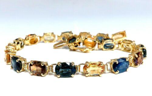 18.20ct Natural Multicolor Sapphire Bracelet 14kt