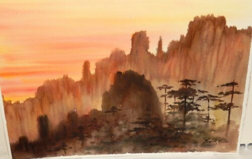 ERIK LIU ORIGINAL WATERCOLOR CHINESE LANDSCAPE PAINTING
