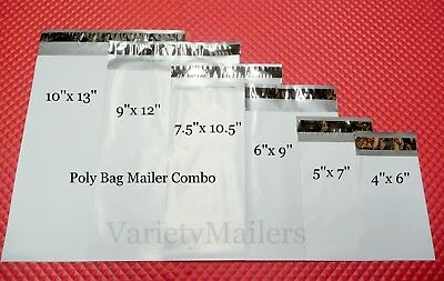 30 Poly Bag Postal Envelope Mailer Combo 6 Sizes 2.5 Mil Self-sealing Mailers