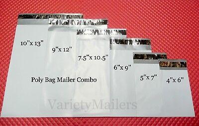 30 Poly Bag Postal Envelope Mailer Combo 6 Sizes 2.5 Mil Self-sealing Mailers