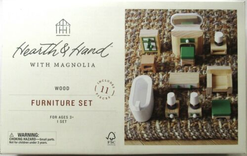 HEARTH & HAND WITH MAGNOLIA Toy Dollhouse Wood Furniture Set 11 Pieces >NEW<