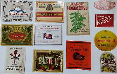 Lot of 12 Vintage Labels from Malta UK France mostly Beverages Juices & Alcohol