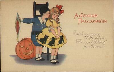 Cute Halloween Postcards (Halloween Cute Little Boy & Girl Stecher 1239A c1915)