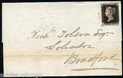 GREAT BRITAIN PENNY BLACK ON FL MANCHESTER NOVEMBER 10, 1840 TO BRADFORD SHOWN
