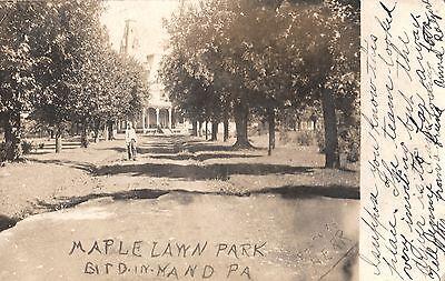 RPPC Maple Lawn Park in Bird in Hand PA 1906
