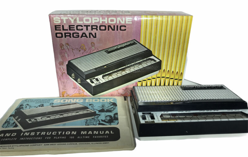 Vintage 1968 Stylophone Electronic Organ with Original Box and Manual