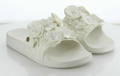 63-31 MSRP $198 Women's Size 6 Tory Burch Blossom White Synthetic Slides