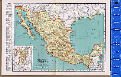 MEXICO  - Vintage 1930s Color Map with Principal Cities